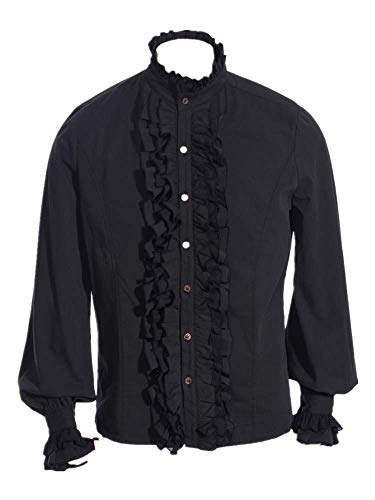 Sysea Men Ruffled Gothic Steampunk Victorian Pirate Cosplay Long Sleeve Shirt Black]()