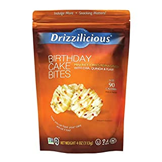 Drizzilicious Birthday Cake Snacks 4oz 6 Pack | Gluten Free Mini Snack Cupcake Rice Cakes | Vegan Air Popped Chia, Quinoa, Flax