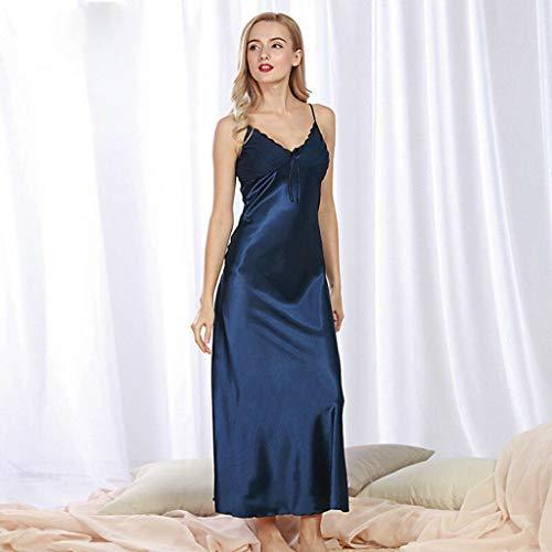 Ladies Silk Satin Night Dress Sleeveless Nighties V Neck Bow Nightgown Long Nightdress Lace Sleepwear Nightwear(M,Blue)