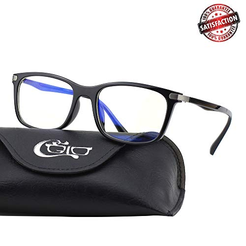 CGID CT46 Premium TR90 Frame Blue Light Blocking Glasses,Anti Glare Fatigue Blocking Headaches Eye Strain,Safety Glasses for Computer/Phone/Tablet,Rectangle Flexible Unbreakable Frame,Transparnet Lens