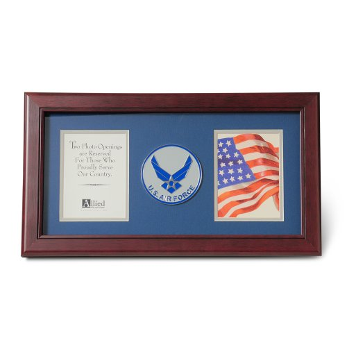 (Allied Products Frame Aim High Air Force Medallion Double Picture Frame, 4 by)