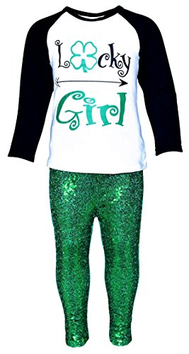 Unique Baby Girls ST Patrick's Day Lucky Girl Outfit (7/XXL) -