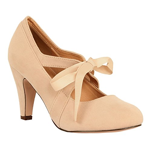 Guilty Heart Womens Vintage Retro Mary Jane Kitten Mid Heel Pump Pumps Pumps, Nude Suede, 8.5 B(M) - Retro Vintage Nude