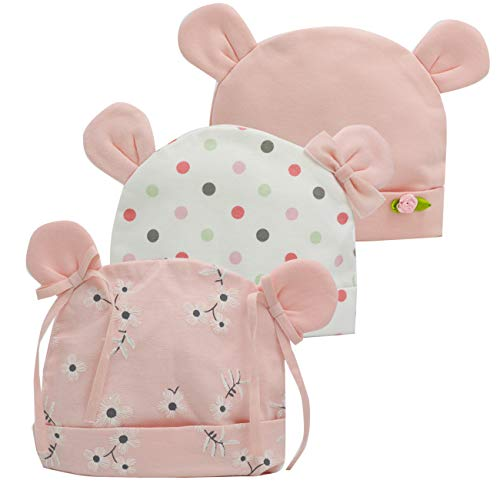 (Newborn Beanie Baby Hats 0-6 Months 6-12 Months Girl Bow Caps Hospital Beanie Set (Pink, Flower, Dot, 1-6)