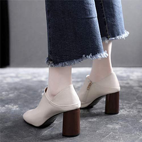shoes Rough 7cm mouthpieces deep shoes White high LBTSQ pointed leather jokes small fashion women's shoes shoes heels gRwCnUq5