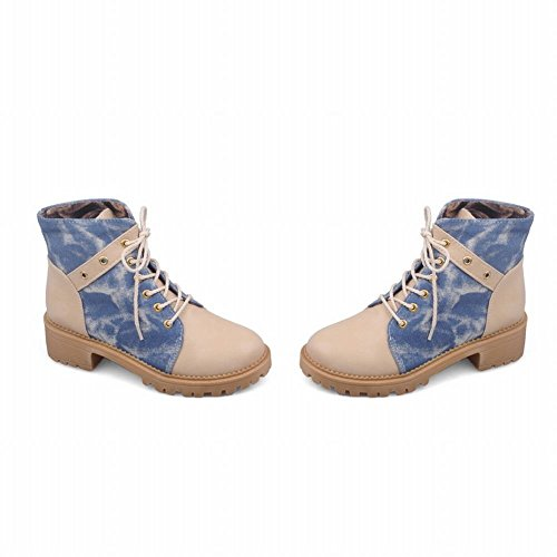 Carolbar Womens Lace Up Canvas Fashion Comfort Mid Heel Martin Short Boots Apricot 8tZnnqz