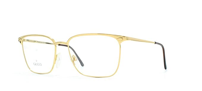 7b57b959cc Gucci 1223 013 Gold Rectangular Certified Vintage Eyeglasses Frame For Mens  and Womens  Amazon.co.uk  Clothing