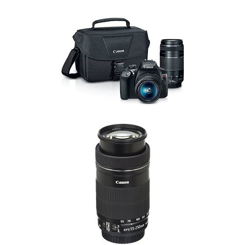 Canon EOS Digital SLR Camera Kit with EF-S 18-55mm and EF 75-300mm Zoom Lenses with 55-250mm F4-5.6 IS STM Lens