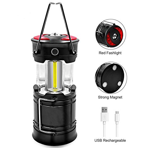 BecaBloc Portable Rechargeable LED Camping Lantern Flashlights with Built-in Rechargeable Battery for Emergency Power Outage and Illumination, Black