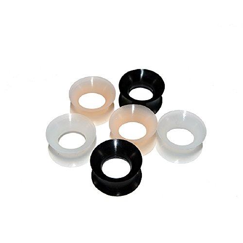 BodyJewelryOnline 3 Pairs of Thin Silicone 00G Glow in the Dark Flexible Ear Skin Tunnels ()