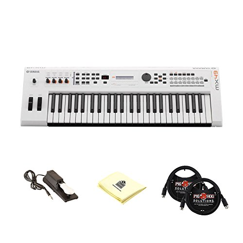 Yamaha MX49 49 Key Initial Touch Music Production Synthesizer Keyboard with Universal Sustain Pedal, 2 MIDI Cable and Zorro Sounds Synthesizer Cloth (Synthesizer Keyboard Bundle) in White