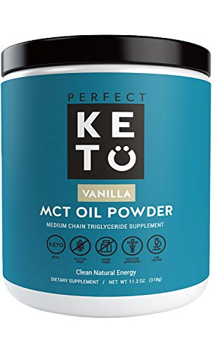Perfect Keto MCT Oil Powder: Vanilla Ketosis Supplement (Medium Chain Triglycerides, Coconuts) for Ketone Energy. Paleo Natural Non Dairy Ketogenic Keto Coffee Creamer