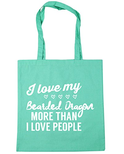 HippoWarehouse I love my bearded dragon more than I love people Tote Shopping Gym Beach Bag 42cm x38cm, 10 litres Mint