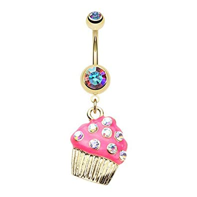 WildKlass Jewelry Sweet Frosted Cupcake 316L Surgical Steel Belly Button Ring