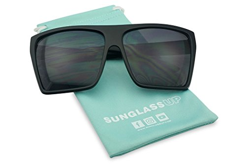 SunglassUP Extra Large Square Retro Flat Top Oversized Aviator Sunglasses (Black, Dark - Extra Sunglasses Large