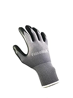 Nylon, Micro-Foam Nitrile Gloves [ All General Purpose Safety Protection Gloves ] safety protection light weight all general-purpose work gloves – Black/Gray – 3 pairs