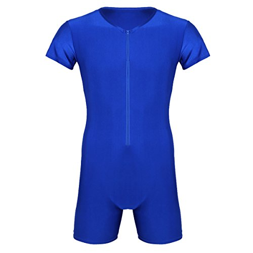 High Cut Lycra Singlet - YiZYiF Men's Lycra High Cut Solid Modified Wrestling Singlet Leotard (Medium, Boxer Blue)