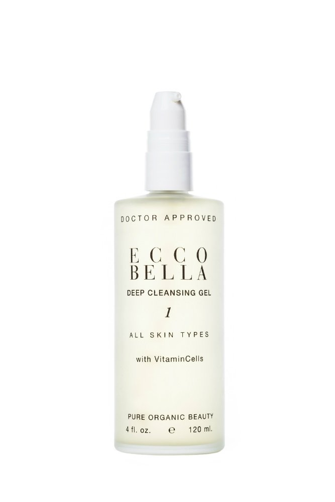 Ecco Bella Natural Face Cleanser | Organic & Vegan Deep Cleansing Gel, Enriched Formula with Soy Protein, Vitamin E and CoQ10 for Sensitive Skin- 4 oz
