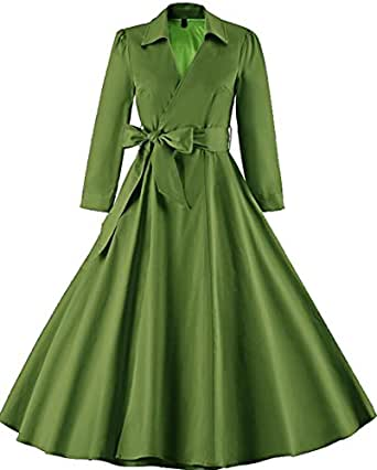 Gnao Women Vintage 1950s Bleted Pleated Lapel Slim Fit Long Trench Coat 1 S
