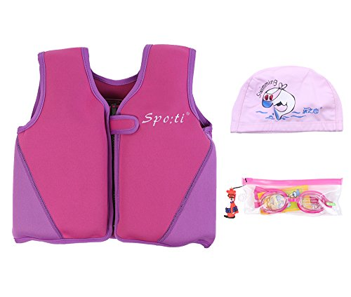 Genwiss Baby's Swim Large Life Jacket 3-4 Years Purple include Swimming Goggles and Swim Cap