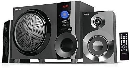 Boytone BT-210FB Wi-fi Bluetooth Stereo Audio Speaker with Highly effective Sound, Bass System, Wonderful Clear Sound & FM Radio, Distant Management, Aux-In Port, USB/SD/for Telephone's, Laptops, Black, 30 W