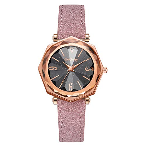 Saying Leather Watches Ladies Belt Watch Starry Sky Dial Temperament Timepiece Rhombus Convex Glass Women Wristwatch Ladies Quartz Bracelets Rectangle Convex Glass Wrist Watch (E) ()