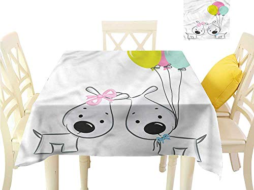 WilliamsDecor Table Cloth Cover Cute,Girl and Boy Dog with Balloons Small Square Tablecloth W 70