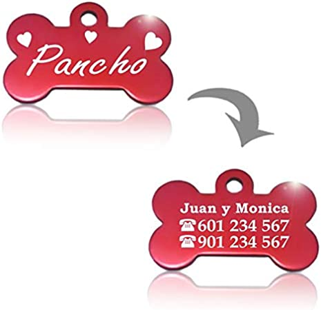 Fucsia Hueso para Mascotas peque/ñas-Medianas con Corazones Placa Chapa Medalla de identificaci/ón Personalizada para Collar Perro Gato Mascota grabada