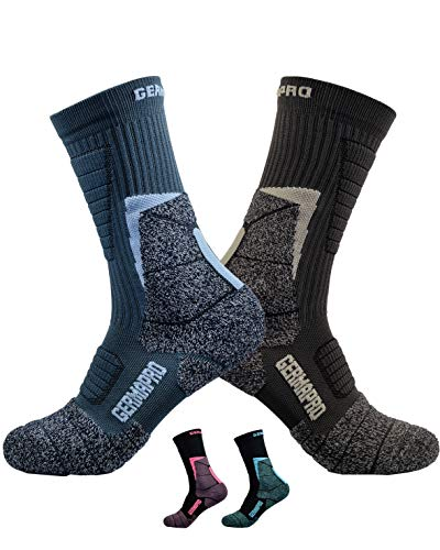 Mens Hiking Socks Outdoor Boot Socks w/Antibacterial Odor Moisture Wicking Germanium & Coolmax All Season 2 pairs