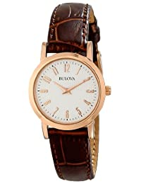 Bulova Women's Leather Strap Watch White 97L121