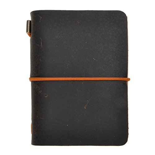 ZLYC Vintage Handmade Refillable Leather Passport Size Travelers Journals Diary Notepad Notebook (Dark Coffee)