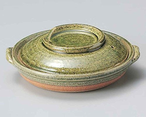 Oribe Yanagawa for 2-3 persons 7.9inch Donabe Japanese Hot pot Green Ceramic Made in Japan by Watou.asia