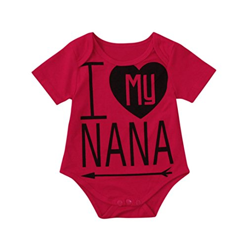 for 0-2 Years Old Baby, Girl Boy Nana Letters Romper Bodysuit T Shirts Sunsuit (6-12 Months, -