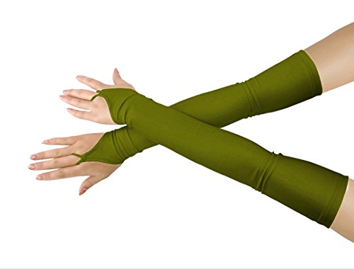 Shinningstar Girls' Boys' Adults' Stretchy Lycra Fingerless Over Elbow Cosplay Catsuit Opera Long Gloves (Army Green) for $<!--$11.99-->