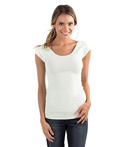 zhAjh Womens Cotton Spandex Scoopneck Cap Sleeve Tee (Small, (Womens Cap Sleeve Top)