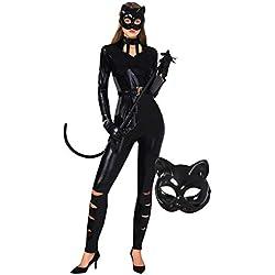 Spooktacular Creations - Disfraz clásico de Catwoman de Halloween para Mujeres Adultas, Traje de Gato con máscara de Gatito y cinturón, Negro, S