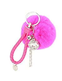 SUPPION Fluffy Ball Keychain with Hollow Bell Pendant Cell Phone Handbag Charm Key Ring