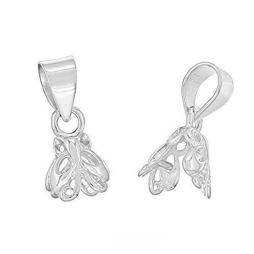 - 1PC Sterling Silver Butterfly Filigree Pinch Bail Pendant Clasp