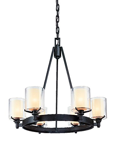 Troy Lighting Arcadia 6-Light Chandelier – French Iron Finish with Clear Outer and Ribbed Provence Inner Glass