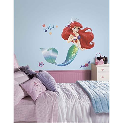 (21 Piece Kids Green Purple Red Little Mermaid Wall Decals Set, Disney Themed Wall Stickers Peel Stick, Movie Classic Princess Ariel Fish Ocean Water Sea Sparkling Shells Decorative Mural Art, Vinyl)