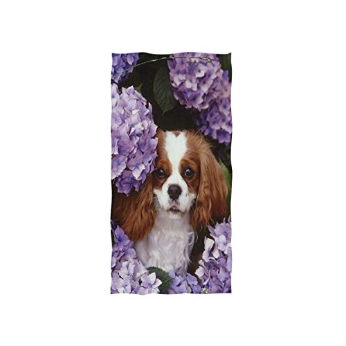 (KMAND Cavalier King Charles Spaniel Puppy Hand Towels Ultra Soft Luxury Cotton Face Towel Washcloths for Home Kitchen Bathroom Spa Gym Swim Hotel Use)