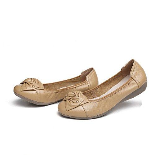 Casual Ballett Moccasin Tie Minetom Myk Slip Brun Bow Pumper Kvinners Såle Domstol Flats Kjøre På Loafers Komfort Dansesko 6wPqP5t
