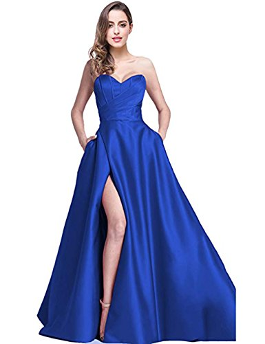 (Ri Yun Women's Sweetheart Prom Dresses Long 2019 High Slit Strapless A-Line Formal Evening Ball Gowns with Pockets)