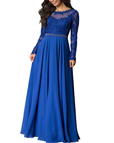 Roiii Women Embroidered Chiffon Prom Wedding Party Cleb Cocktail Formal Gowns Long Dress Size S-3XL (4X-Large, Navy Blue)
