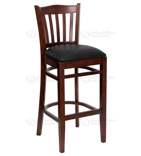 HERCULES Series Mahogany Finished Vertical Slat Back Wooden Restaurant Bar Stool with Black Vinyl Seat