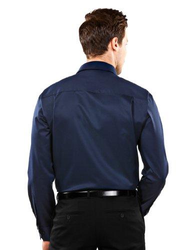 Vincenzo Boretti Herren-Hemd Bügelfrei 100% Baumwolle Slim-Fit Tailliert Uni-Farben Dunkelblau - Männer Lang-Arm Hemden für Anzug mit Krawatte Business Hochzeit Freizeit