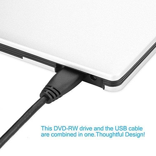 LeeKooLuu USB 3.0 External Ultra Slim DVD Burner Drive Aluminium DVD-RW/CD-RW Burner Super Drive (Silvery) (USB 3.0 Slivery) by LeeKooLuu (Image #4)