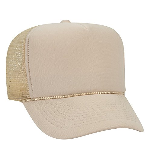 Otto Caps OTTO Polyester Foam Front 5 Panel High Crown Mesh Back Trucker Hat - Tan - Tan Trucker Hat