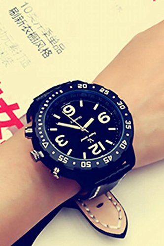 Price comparison product image Generic Korean_style_of tide_Men's_ leather _sports_ large watch _tray,_crooked_couple_ watch es_men women_ students _Harajuku_Boom