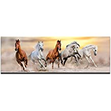 Sea Charm - Large Size Canvas Wall Art,Running Horse Picture Canvas Prints Desert Sunset Landscape Painting Giclee Artwork Printed,Modern Office Home Living Room Decoration Ready to Hang